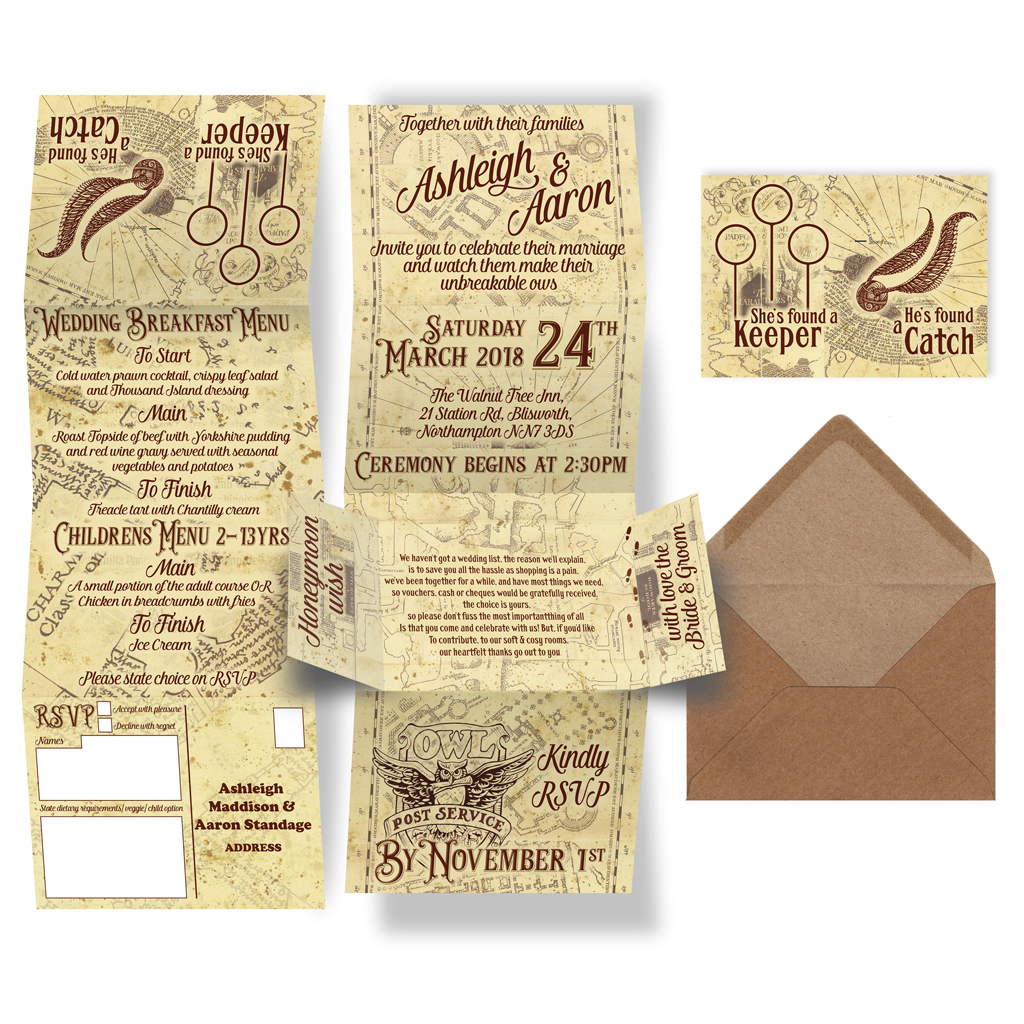 Harry Potter Marauders Map Wedding Invite Foxyfox Co Uk