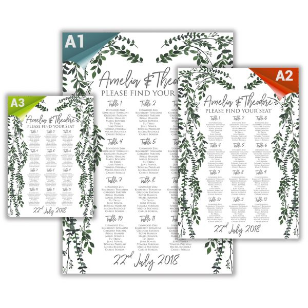 Botanical Seating Plan and Stationary