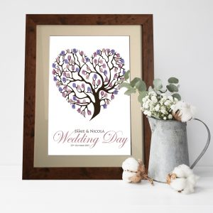 Wedding Heart Finger Print Tree