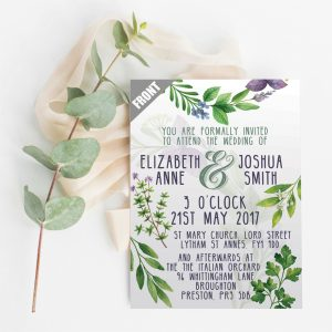 Herb Foliage Flat Wedding Invite