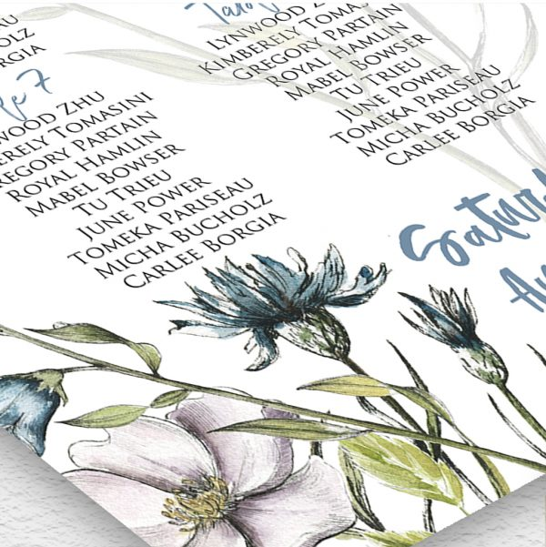 Blue Wildflower Wedding Table Plan