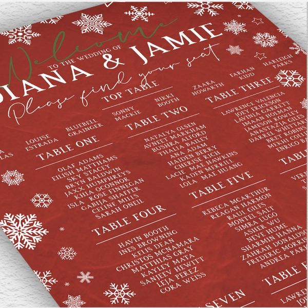 Red Winter Christmas Wedding Table Plan
