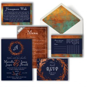 Copper & Navy Wedding Invitation