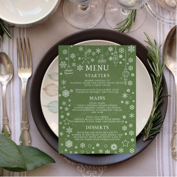 VINTAGE GREEN WINTER WEDDING TABLE PLAN