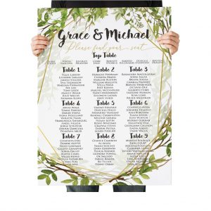 Green Geometric Gold Wedding Table Plan