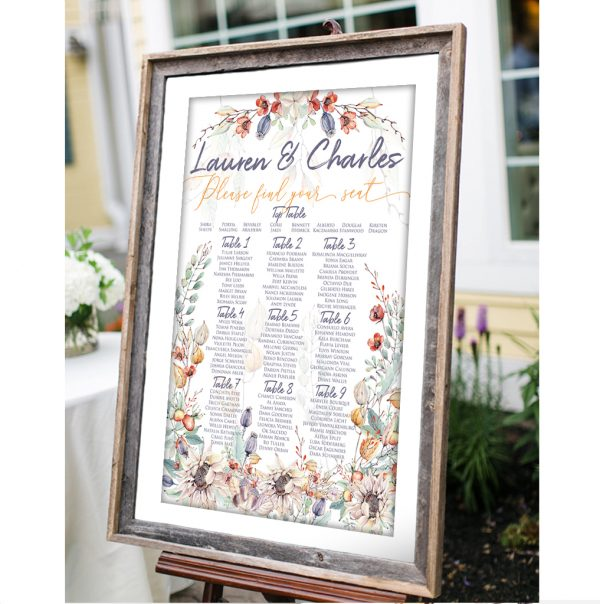 Elegant Autumn, Fall Wedding Table Plan