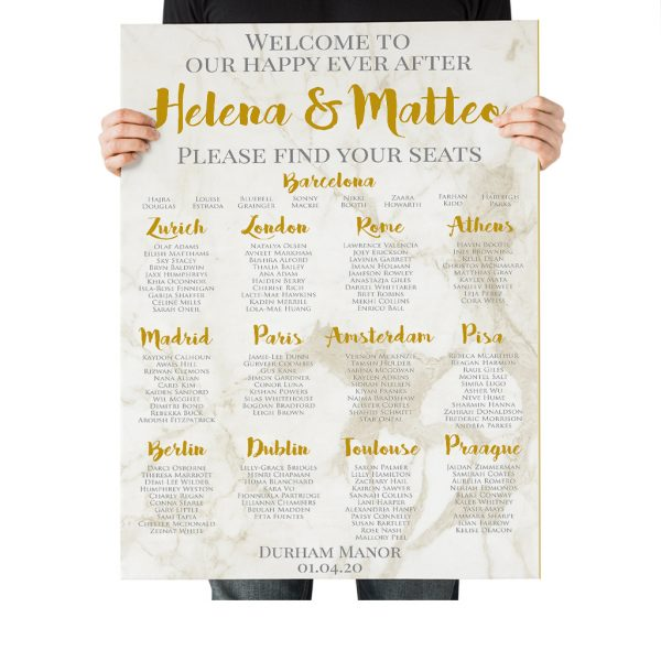 Marble and Gold Wedding Table Plan