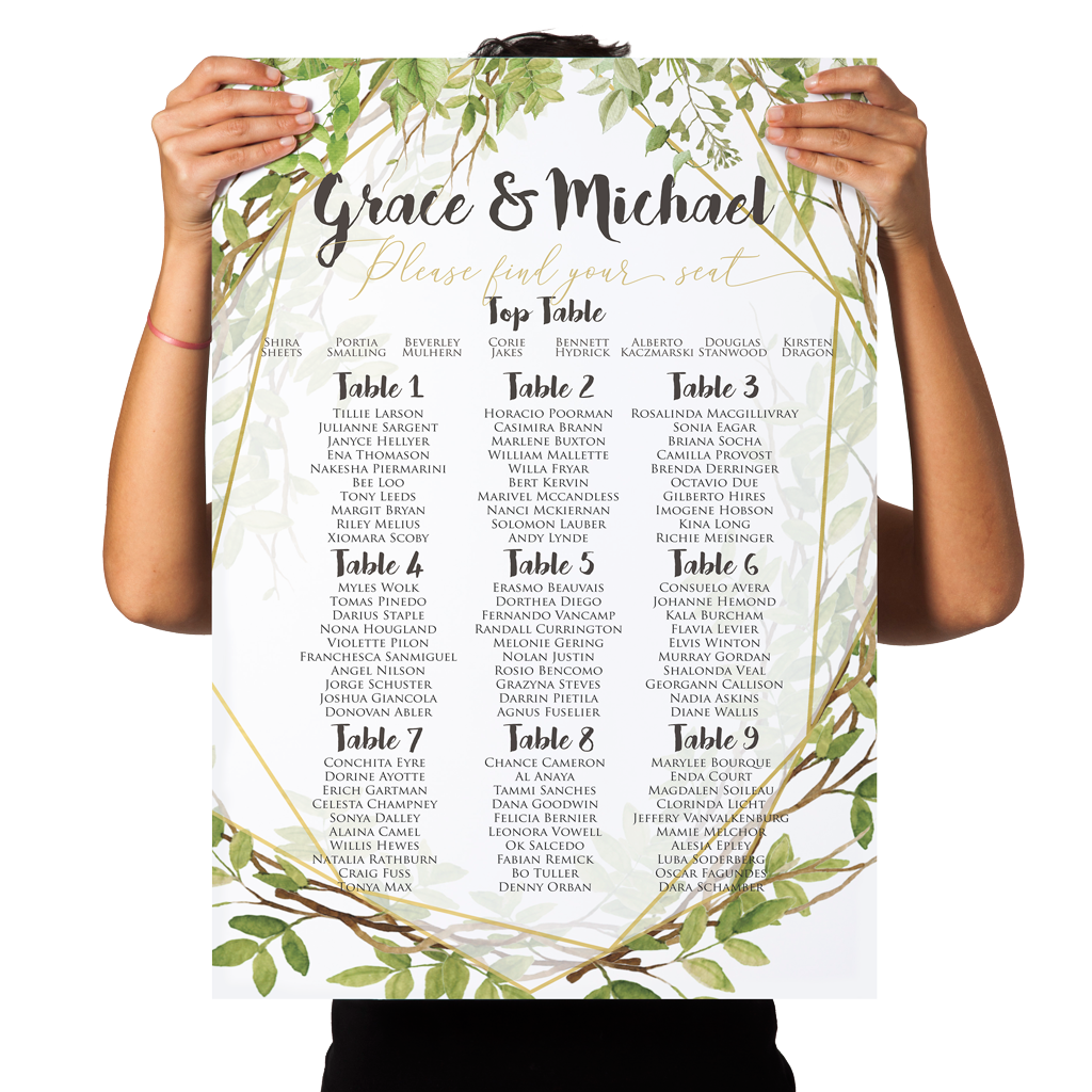 Leafy Gold Geometric Wedding Seating Chart