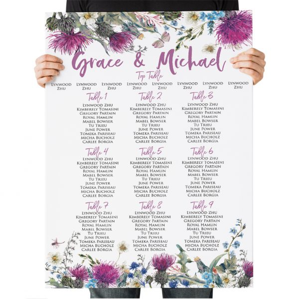 Wildflower Thistle Wedding Table Plan