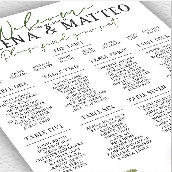 Woodland Fern Wedding Table Plan